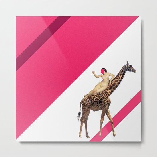 Laying on a giraffe Metal Print