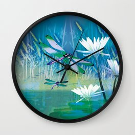 Dragonflies on blue pond  Wall Clock
