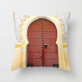 Golden Red Door in Fes, Morocco Throw Pillow