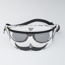 old funny skull art portrait in black and white Fanny Pack