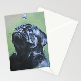 black PUG dog art portrait from an original painting by L.A.Shepard Stationery Cards