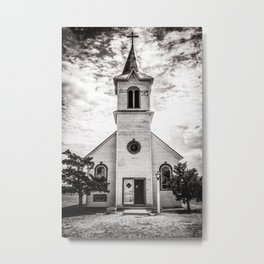 Rustic Church in Black and White Metal Print
