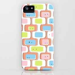 Retro geometric faces iPhone Case