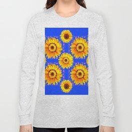 SKY BLUE MODERN SUNFLOWERS ART Long Sleeve T-shirt