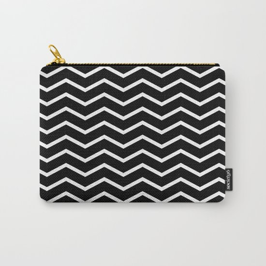 White Chevron On Black Carry-All Pouch