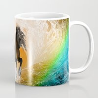running Mugs featuring Running horse by nicky2342