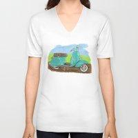 vespa V-neck T-shirts featuring Vespa by JasonKoons