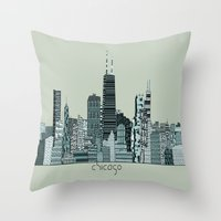 chicago Throw Pillows featuring Chicago  by bri.buckley