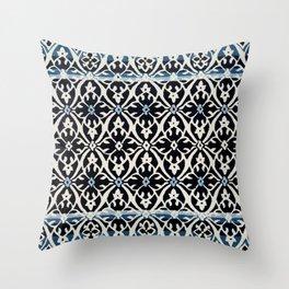 (N5) Vintage Anthropologie Moroccan Indigo Artwork. Throw Pillow