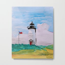 Cape Poge Lighthouse, Martha's Vineyard watercolor Metal Print