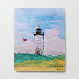 Cape Poge Lighthouse, Martha's Vineyard watercolor Metal Print