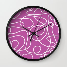 Doodle Line Art | White Lines on Pinky Purple Wall Clock