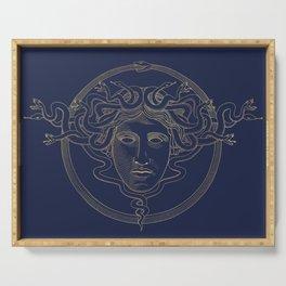 medusa / gold minimal line logo on navy background Serving Tray