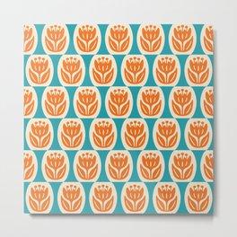 Mid Century Modern Atomic Flower Pattern 526 Beige Orange and Turquoise Metal Print