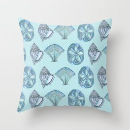 Watercolor Seashells Aqua Background  Throw Pillow