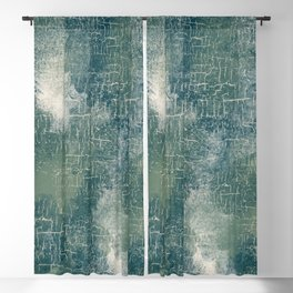 Grunge Abstract Art in Teal, Olive Green and Cream Blackout Curtain