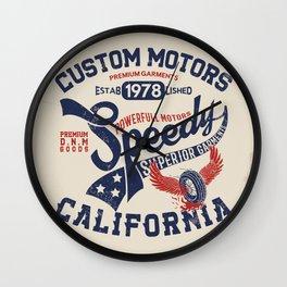 Custom motors california graphic Wall Clock