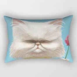 A cat holding a flower Rectangular Pillow