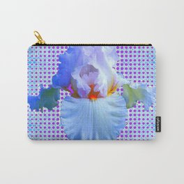 AWESOME BLUISH-WHITE PASTEL IRIS OPTICAL ART Carry-All Pouch