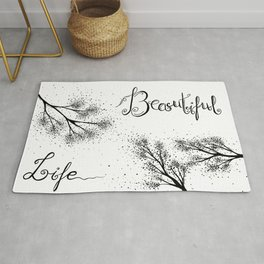 Beautiful Life Quote Black and White Rug