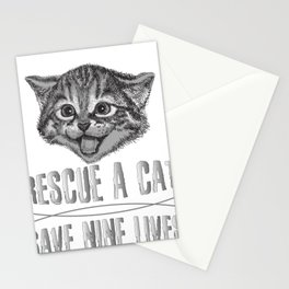 Cat Lover Rescue a Cat Save Nine Lives Stationery Cards