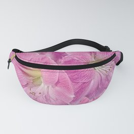 TROPICAL PINK AMARYLLIS FLOWERS ON BLACK Fanny Pack
