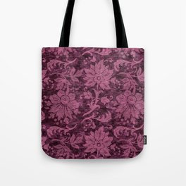 Burgundy Turquoise Velvet Floral Pattern 03 Tote Bag