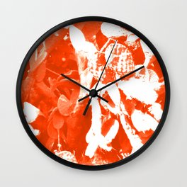 Orange Cactus Pattern Wall Clock