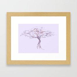 Quiet Acacia Zen Tree , Earthy African Bonsai Peace Lavendar Purple Framed Art Print