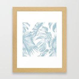 Blue Tropical Palm Leaves Print Framed Art Print