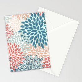 Festive, Floral Prints, Teal, Coral, Peach Stationery Cards