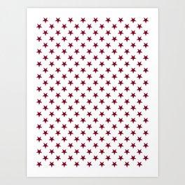Burgundy Red on White Stars Art Print