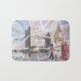 london collage - blue Bath Mat