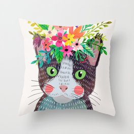 Cat with flowers Throw Pillow