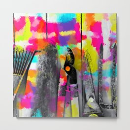 gardening tool with colorful wood painting abstract background in pink yellow blue orange purple Metal Print
