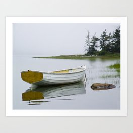 A Fine Art Photograph of a White Maine Boat on a Foggy Morning Art Print