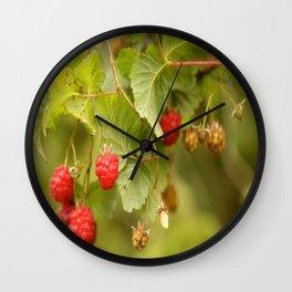 Sweet Raspberry Branches #decor #society6 Wall Clock