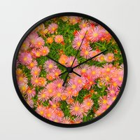 blanket Wall Clocks featuring Daisy Blanket by Kaitlynn Lewis