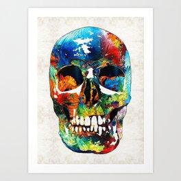Colorful Skull Art - Aye Candy - By Sharon Cummings Art Print