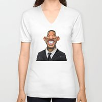 celebrity V-neck T-shirts featuring Celebrity Sunday ~ Will Smith by rob art | illustration
