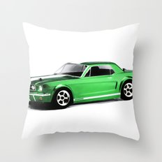 Ford Mustang Coupe (1966) - Painting Style Throw Pillow