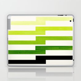 Minimalist Mid Century Modern Sap Green Watercolor Painting Lightning Bolt Zig Zag Pattern With Blac Laptop & iPad Skin