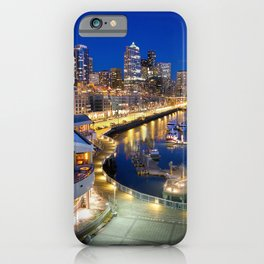 Seattle USA Night Marinas Cities Building Pier Berth night time Houses iPhone Case