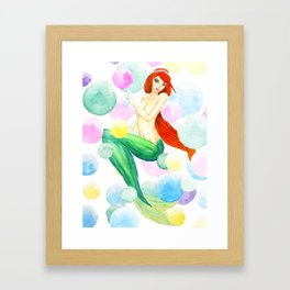 mermaid with colorful bubbles Framed Art Print