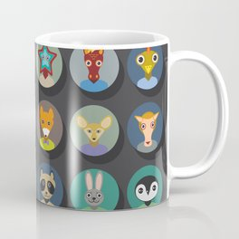 Set of animals faces circle icons set in Trendy Flat Style. zoo Coffee Mug