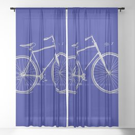 Vintage Bicycle Patent Blueprint Sheer Curtain