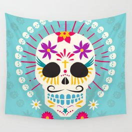 Dios De Los Muertos Day of the Dead Sugar Skull Fiesta Wall Tapestry
