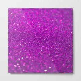 Bright Fuchsia Glitter Metal Print