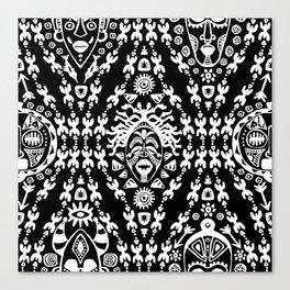 Ethnic African Tribal pattern on black Canvas Print