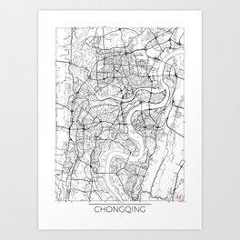 Chongqing Map White Art Print